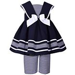 Toddler Girl Bonnie Jean Sleeveless Poplin Nautical Collar to Box Pleat Skirt Dress with Matching Striped Capri Pant