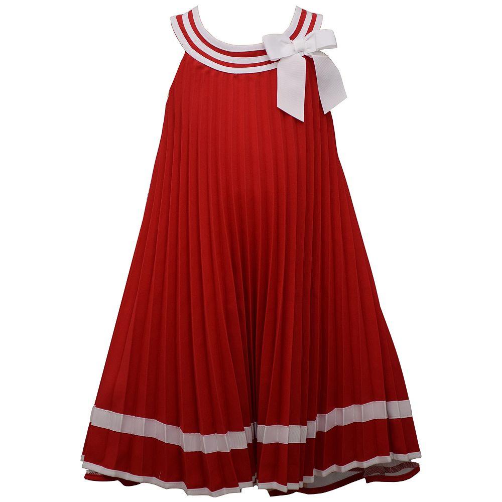 Toddler Girl Bonnie Jean Sleeveless Nautical Poplin Pleated U-Neck Trapeze Dress with Bow