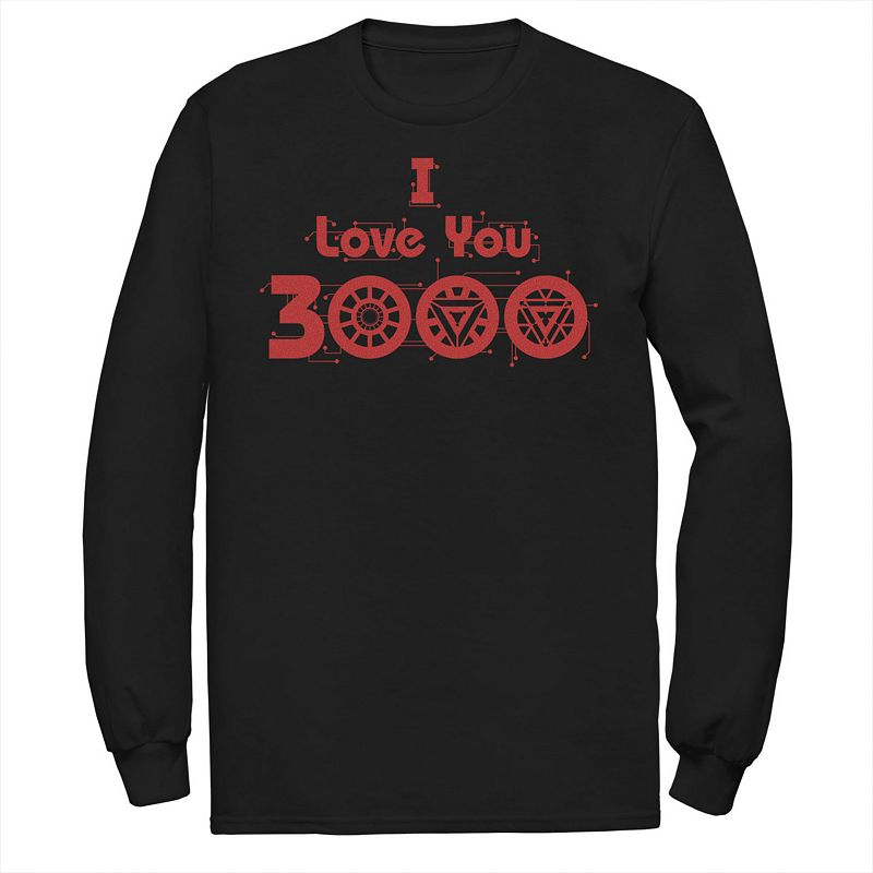 Men's Marvel Avengers Endgame I Love You 3000 Arc Reactor Symbols Long Sleeve Graphic Tee, Size: Medium, Black