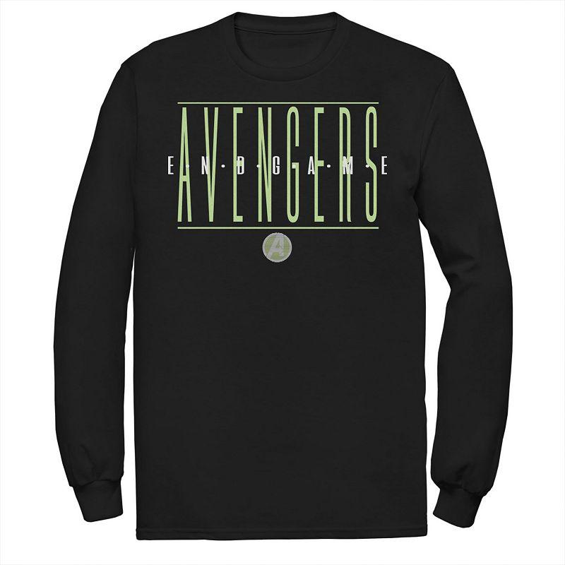 Men's Marvel Avengers Endgame Strikethrough Text Long Sleeve Graphic Tee, Size: Medium, Black