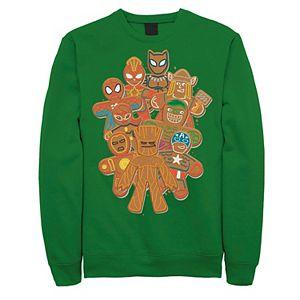 Men's Marvel Avengers Gingerbread Cookie Cluster Graphic Fleece Pullover