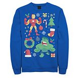 Men's Marvel Avengers Iron Man And Hulk Holiday Collage Graphic Fleece Pullover