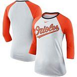 Women's Nike White/Orange Baltimore Orioles Tri-Blend Raglan 3/4-Sleeve T-Shirt