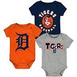 Newborn & Infant Navy/Orange/Heathered Gray Detroit Tigers Everyday Fan Three-Pack Bodysuit Set