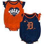 Girls Newborn & Infant Navy/Orange Detroit Tigers Double Trouble Two-Pack Bodysuit Set