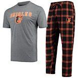 Men's Concepts Sport Black/Orange Baltimore Orioles Troupe T-Shirt & Pants Sleep Set