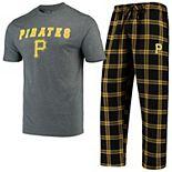 Men's Concepts Sport Black/Gold Pittsburgh Pirates Troupe T-Shirt & Pants Sleep Set