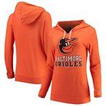 Women's New Era Orange Baltimore Orioles Jersey Tri-Blend Pullover Hoodie