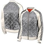 Women's WEAR By Erin Andrews Gray Cleveland Browns Quilted Full-Zip Bomber Jacket