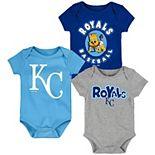 Newborn & Infant Royal/Light Blue/Gray Kansas City Royals Everyday Fan Three-Pack Bodysuit Set