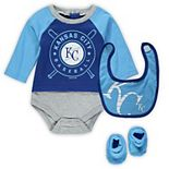 Newborn & Infant Royal/Light Blue Kansas City Royals Dugout Dude Bodysuit, Bib & Booties Set