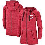 Women's Nike Heathered Red Cincinnati Reds Gym Vintage Team Full-Zip Hoodie