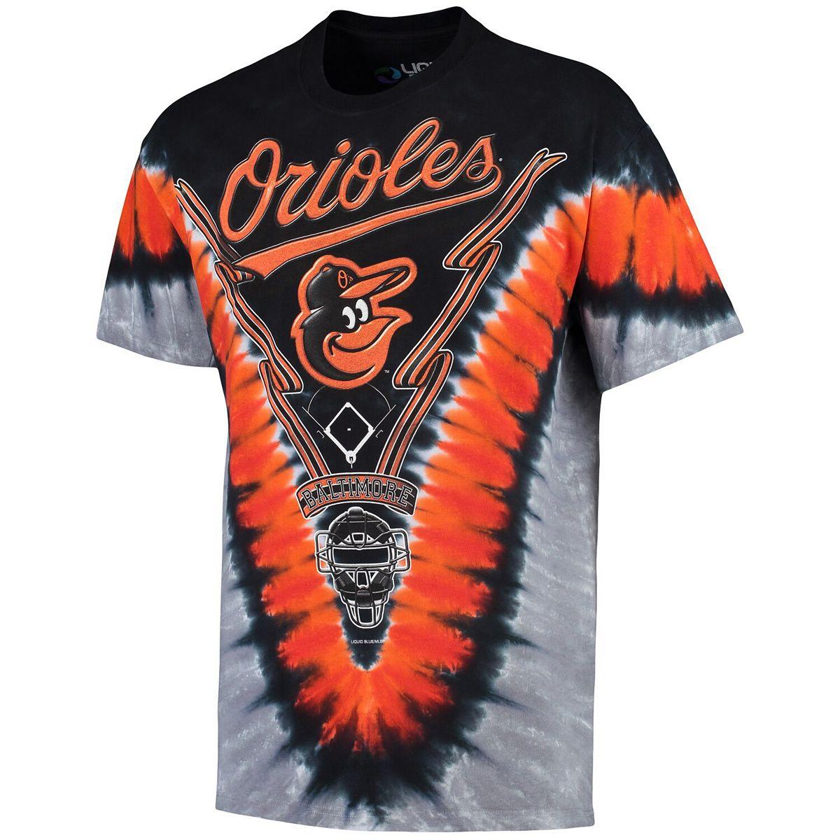 Men's Black/Orange Baltimore Orioles V Tie-Dye T-Shirt Lmy24