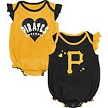 Girls Newborn & Infant Black/Gold Pittsburgh Pirates Double Trouble Two-Pack Bodysuit Set