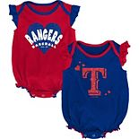 Girls Newborn & Infant Red/Royal Texas Rangers Double Trouble Two-Pack Bodysuit Set