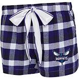 Women's Concepts Sport Purple/Black Charlotte Hornets Piedmont Flannel Sleep Shorts