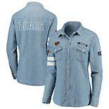 Women's WEAR By Erin Andrews Denim Chicago Bears Long Sleeve Button-Up Shirt