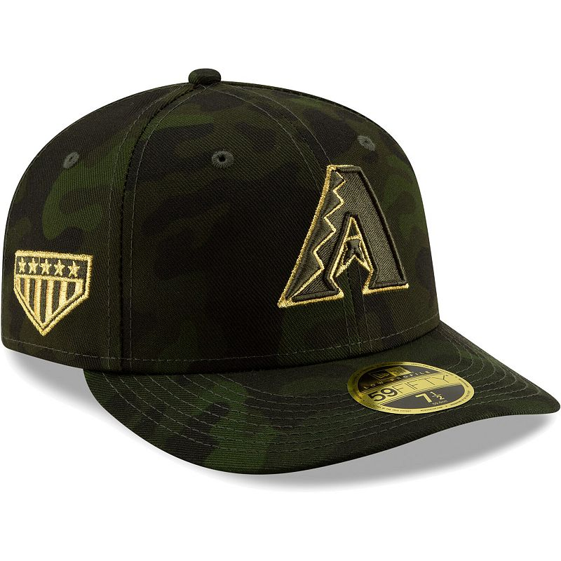 Arizona Diamondbacks New Era 2019 MLB Armed Forces Day On-Field Low Profile 59FIFTY Fitted Hat - Camo, Size: 7 1/4, Green
