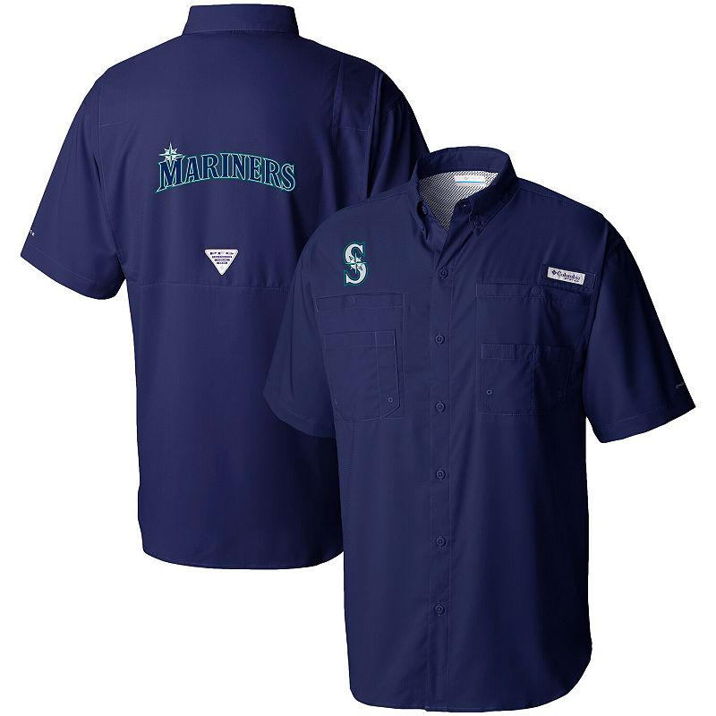 Men's Columbia Navy Seattle Mariners Tamiami Button-Down Omni-Shade Shirt, Size: XL, Blue