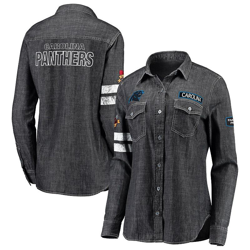 Women's WEAR By Erin Andrews Heather Black Carolina Panthers Long Sleeve Button-Up Denim Shirt, Size: Medium, Grey