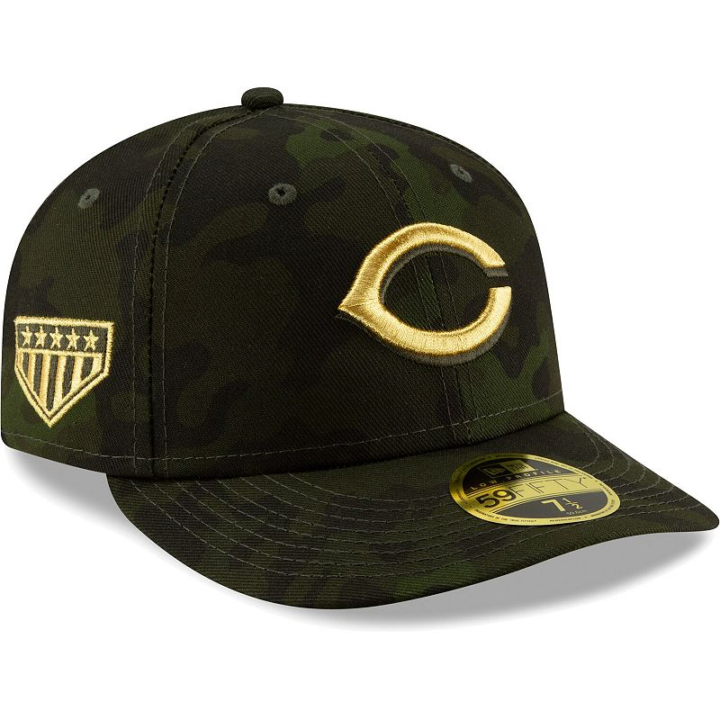 Cincinnati Reds New Era 2019 MLB Armed Forces Day On-Field Low Profile 59FIFTY Fitted Hat - Camo, Size: 7 1/8, Green