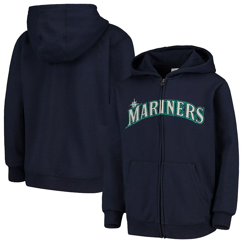 Youth Navy Seattle Mariners Team Color Wordmark Full-Zip Hoodie, Boy's, Size: YTH Small, Blue