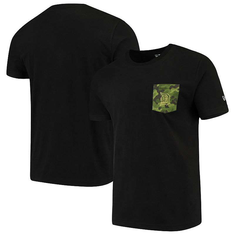 Detroit Tigers New Era Armed Special Forces Camo Pocket T-Shirt - Black, Men's, Size: Large