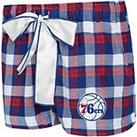 Women's Concepts Sport Royal/Red Philadelphia 76ers Piedmont Flannel Sleep Shorts
