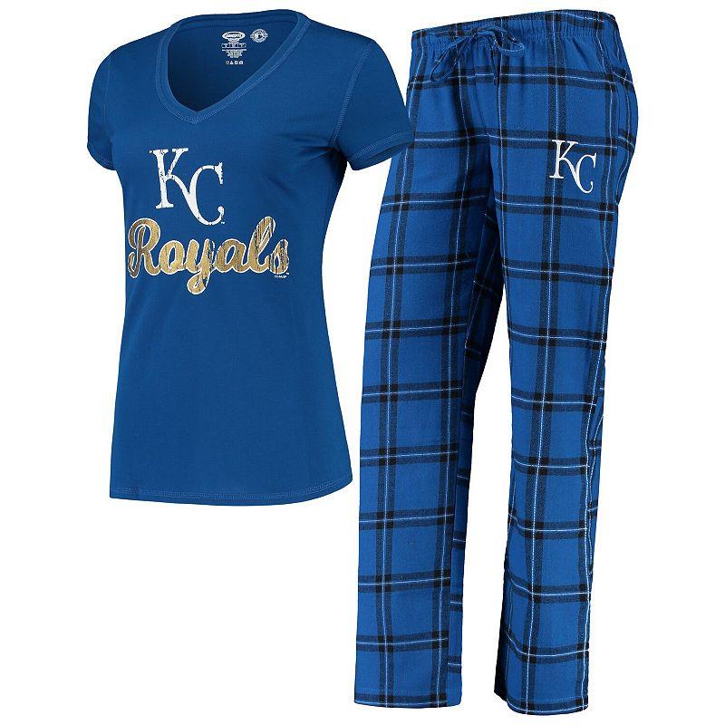 Women's Concepts Sport Royal/Black Kansas City Royals Troupe V-Neck T-Shirt & Pants Sleep Set, Size: Small, Blue
