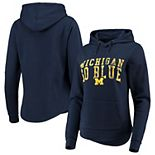 Women's Colosseum Navy Michigan Wolverines Core Crossover Pullover Hoodie