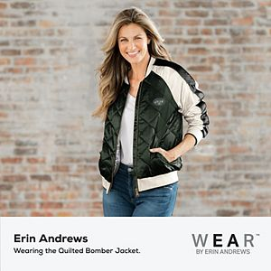Women's WEAR By Erin Andrews Green New York Jets Quilted Full-Zip Bomber Jacket