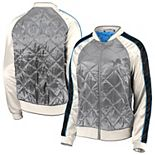 Women's WEAR By Erin Andrews Gray Detroit Lions Quilted Full-Zip Bomber Jacket