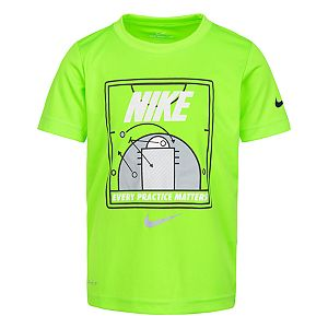 7 New Nike Dri Fit Boys Long Sleeve Graphic Black Neon T-Shirt Tee Size