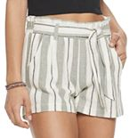 Juniors' Rewind Paper Bag Waist Linen Shorts