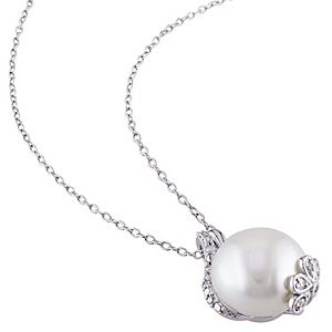 Stella Grace Sterling Silver Freshwater Cultured Pearl & 1/5 Carat T.W. Diamond Pendant & Earring Set