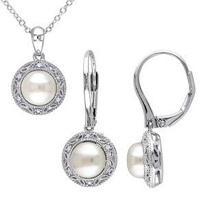 Stella Grace Sterling Silver Freshwater Cultured Pearl & 1/10 Carat T.W. Diamond Pendant & Earring Set