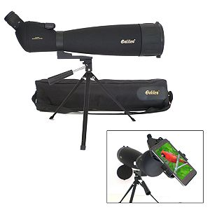 Galileo 30x-90x Zoom Spotting Scope with Smartphone Adapter & Shoulder Case