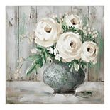 Fine Art Canvas 'White & Sage Floral I' Canvas Wall Art