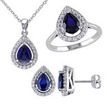 Stella Grace Sterling Silver Lab-Created Blue & White Sapphire Teardrop Pendant, Ring & Earring Set
