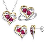 Stella Grace Two Tone Sterling Silver 1/10 Carat T.W. Diamond & Lab-Created Ruby Heart Pendant, Ring & Earring Set