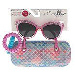 Girls Elli by Capelli Rhinestone Sunglasses & Glitter Mermaid Scale Case Set With Bonus Ponies