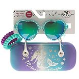 Girls Elli by Capelli Mermaid Heart Sunglasses & Holographic Mermaid Case Set With Bonus Ponies