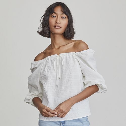 Women's Elizabeth and James Squareneck Puff-Sleeve Blouse