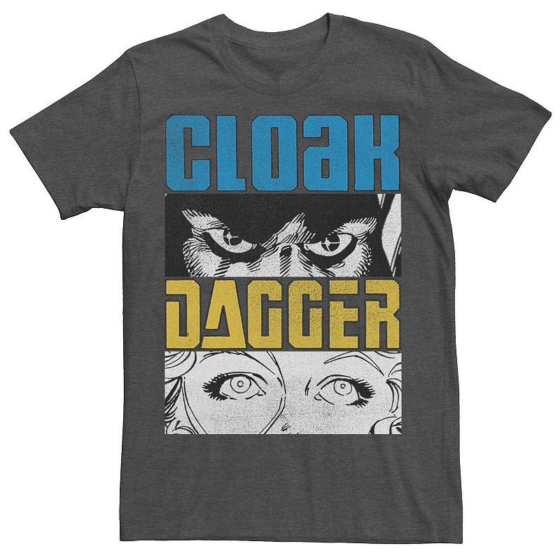 Men's Marvel Cloak Dagger Face Close Up Panels Tee, Size: XXL, Grey
