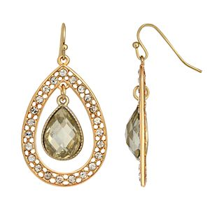 1928 Gold-Tone Crystal Suspended Teardrop Earrings