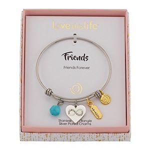LovethisLife® Crystal Infiniy Heart & Turquoise Stone Charm Bangle Bracelet
