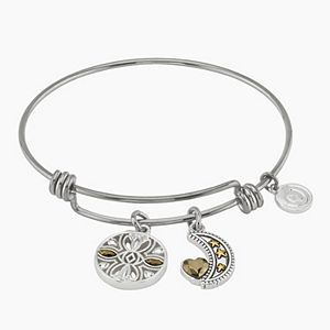 "LovethisLife® Two-Tone ""Moon and Back"" Charm Bangle Bracelet"