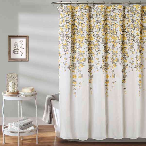 Lush Decor Weeping Flower Shower Curtain, Gray White And Yellow Shower Curtains