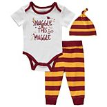 "Baby Boy Harry Potter 3 Piece ""Snuggle This Muggle"" Bodysuit, Pants & Hat Set"