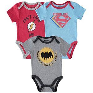 Bbay Boy 3 Piece DC Comics The Flash, Superman & Batman Bodysuit Set